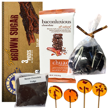 Extreme Gourmet Bacon Candy Sampler Gift Pack (5pc Set) - Pig Candy, Bacon Fudge, Maple Bacon Milk Chocolate Bar, Maple Bacon Lollipops & Dark Chocolate Bacon Bites