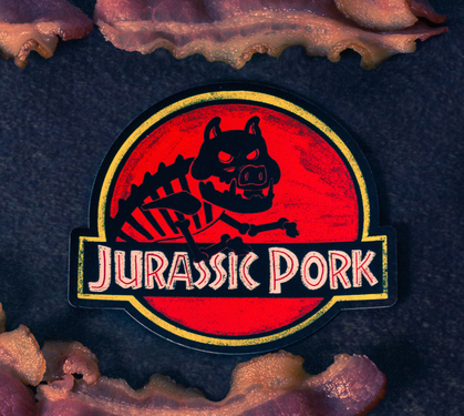 Jurassic Pork Magnet | Pun Pantry Dinosaur Pork Movie Funny Foodie Novelty Gift