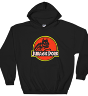 Jurassic Pork Hoodie | Pun Pantry Dinosaur Pork Movie Gift Funny Foodie Hooded Sweatshirt