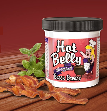 Hot Belly Bacon Grease - 100% Pure Rendered Bacon Fat (11 oz jar) + Free PDF Cookbook