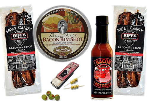 Deluxe Bacon Bloody Mary Gift Pack (5pc Set) - Bacon Cocktail Rim Salt, Hot Sauce, Toothpicks & Bacon Sticks