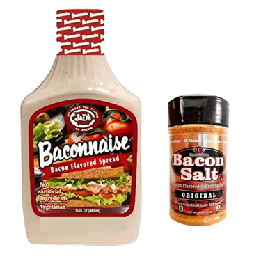 Baconnaise & Bacon Salt Sampler Pack (2pc Gift Set) -  Bacon Mayonnaise Mayo Squeese Bottle & Bacon Flavored Seasoning Salt Combo