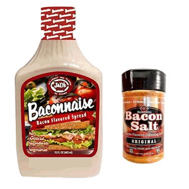 Baconnaise & Bacon Salt Sampler Pack (2pc Gift Set) -  Bacon Mayonnaise Mayo Squeese Bottle & Bacon Flavored Seasoning Salt Combo