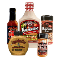 Bacon Condiment Sampler Pack (5pc Gift Set) - Baconnaise, Bacon Rub, Hot Sauce, Mustard & Bacon Salt