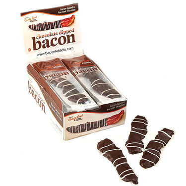 Chocolate Covered Bacon - Bacon Strips Dipped in Dark Chocolate (16pc box)