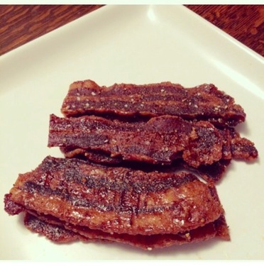 Spicy Candied Bacon Jerky - Love Cyn Gourmet Sweet & Spicy Candied Bacon (5 oz bag)