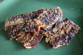 Cracked Pepper Pretzel Salt Candied Bacon Jerky - Love Cyn Gourmet Sweet & Salty Candied Bacon (5 oz bag)