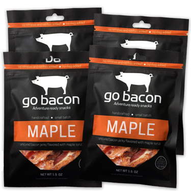 Maple Bacon Jerky Quad Pack - GoBacon Small Batch Cured Bacon Jerky (4  Bags)