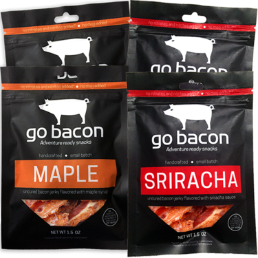 Sriracha & Maple Bacon Jerky Combo Quad Pack - GoBacon Small Batch Cured Bacon Jerky (2 Flavor Sampler)