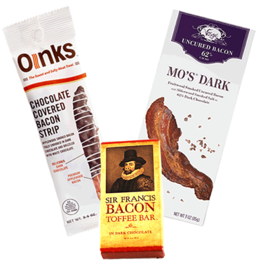 Dark Chocolate Bacon Taster Gift Pack (3pc Set) - Bacon Chocolate Bar, Bacon Toffee Bar & Chocolate Covered Bacon Strip
