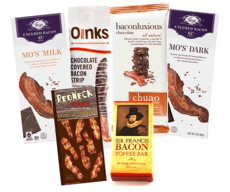 Extreme Bacon Chocolate Sampler Gift Pack (6pc Set) - Vosges Milk & Dark Chocolate Bars, Chuao Maple Bacon Milk Chocolate Bar, Dark Chocolate Bacon Toffee, Chocolate Covered Bacon & Bacon Hot Cocoa