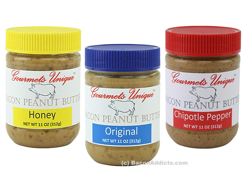 Gourmets Unique Bacon Peanut Butter Variety Pack - Original, Honey & Chipotle Pepper (3 Flavor Sampler)