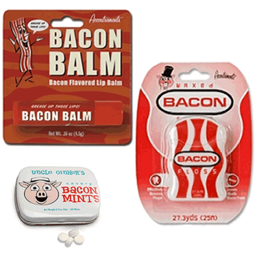 Bacon Oral Care Kit (3pc Gift Set) - Bacon Lip Balm, Breath Mints & Dental Floss
