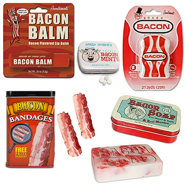 Deluxe Bacon Bath & Grooming Sampler (5pc Gift Set) - Bacon Bandages, Floss, Soap, Breath Mints & Lip Balm