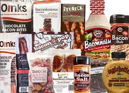 Pig Out Bacon Sampler Gift Pack (13pc Set) - Baconnaise, Mustard, Salt, Rub, Chocolate Covered Bacon, Popcorn, Fudge, Chocolate Bacon Bites, Bacon Strip, Milk Chocolate Bar, Taffy, Lollipops & Hot Cocoa