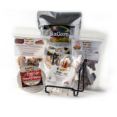 Roni-Sue's Pig Out Package (5pc Gift Set) - Pig Candy, Bacon Buttercrunch, BaCorn, Nasty Bits & Maple Bacon Lollipops