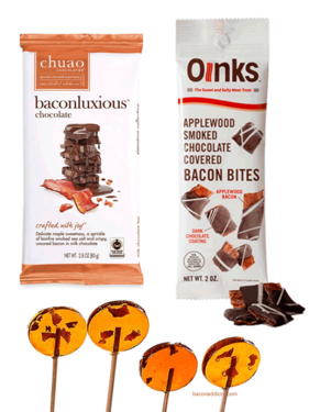 Gourmet Bacon Candy Sampler Gift Pack (3pc Set) - Chuao Bacon Milk Chocolate Bar, Maple Bacon Lollipops & Dark Chocolate Bacon Bites