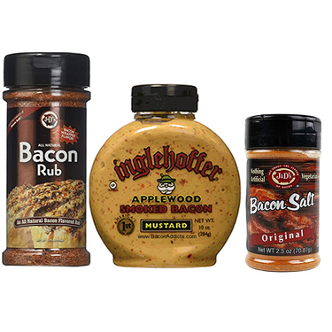 Taste of Bacon Sampler Pack (3pc Set) - Bacon Salt, Bacon BBQ Rub & Applewood Smoked Bacon Mustard