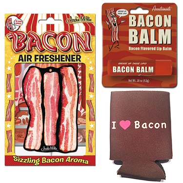 Bacon Triple Sampler Gift Pack (3pc Set) - Bacon Air Freshener, Bacon Lip Balm & I Love Bacon Koozie Can Cooler