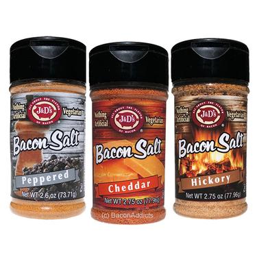 Bacon Salt Sampler (3 Pack) - Cheddar, Peppered & Hickory Bacon Flavored Seasoning Salts Gift Set