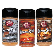 Bacon Salt Sampler (3 Pack) - Cheddar, Peppered & Hickory Bacon Flavored Seasoning Salts Gift Set