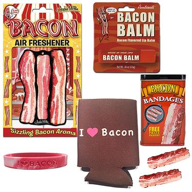 Bacon Bonanza Sampler Gift Pack (5pc Set) - Bacon Bandages, Air Freshener, Lip Balm, I Heart Bacon Koozie & I Love Bacon Silicone Wristband
