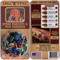 Grill Pinz Mini Skewers (32pc Set) - Bacon & Barbecue Tacks - BBQ & Grilling Pins (Assorted Colors)