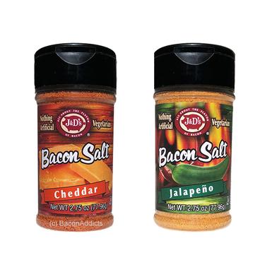 Cheddarpeno Bacon Salt Combo (2pc Set) - Cheddar & Jalapeno Bacon Flavored Seasoning Salts