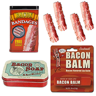 Bacon Bath & Grooming Sampler (3pc Gift Set) - Bacon Bandages, Bacon Soap & Bacon Lip Balm