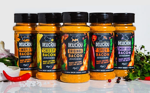 Deliciou Bacon Seasoning Variety Pack (5 Flavor Sampler) Original, Cheesy, Spicy, Maple & Smoky BBQ Delicious Bacon Seasoning Powder Vegan & Gluten Free