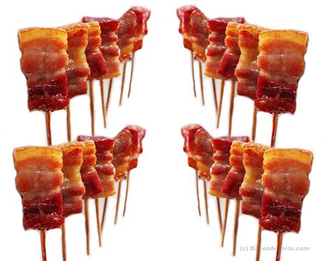 Bacon Lollipops Variety Pack (4 Flavor Sampler) - Maple Chesapeake Bay, Char Siu, Vanilla Bourbon & Mango Habanero Skewered Bacon on a Stick Bite Size Lollipop  (4 Original Flavors)
