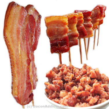 Bacon Skewers, Bacon Lollipops & Bacon Crumble (3pc Sampler Set) - JD's House of Bacon Variety Pack (6 Flavor Options)