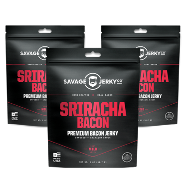 Sriracha Bacon Jerky - THREE PACK - Hand-Crafted All Natural Premium Bacon Jerky (3 Bags)