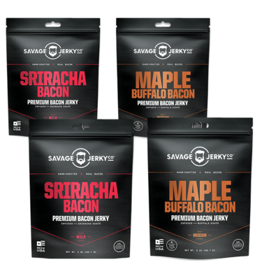 Maple Buffalo & Sriracha Bacon Jerky Combo - FOUR PACK - Hand-Crafted All Natural Premium Bacon Jerky (2 Flavor Sampler)