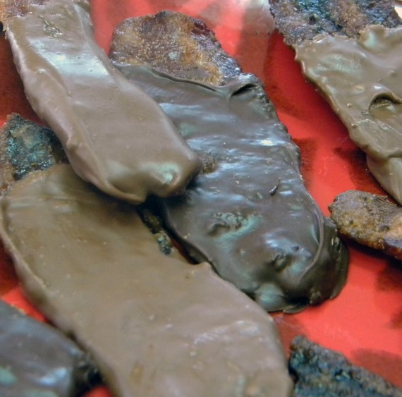 Chocolate covered bacon close