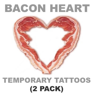 Bacon heart tattoos 2pack words