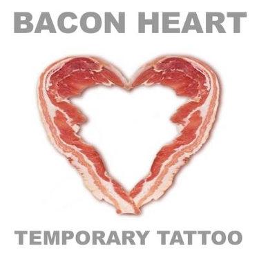 Bacon Love Tattoo - Large Bacon Heart Temporary Body Art Unisex