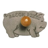 """Cast Iron Bacon Press Grill Weight Pig Shape - 8.5"""""""