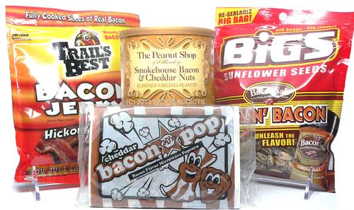 Bacon Snack Pack Sampler (4pc Set)- Bacon & Cheddar Peanuts, Sunflower Seeds, Bacon Jerky & Popcorn