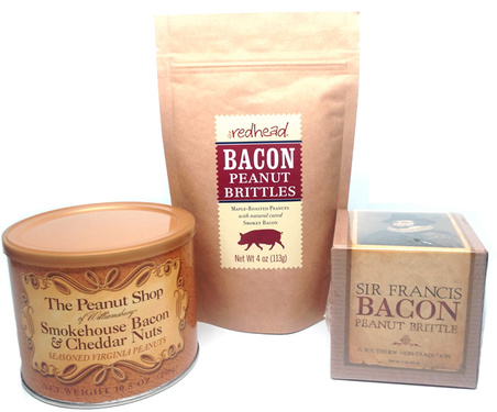 Nuts for Bacon Sampler Gift Pack - Bacon & Cheddar Peanuts, Maple Bacon Peanut Brittles & Bacon Peanut Brittle