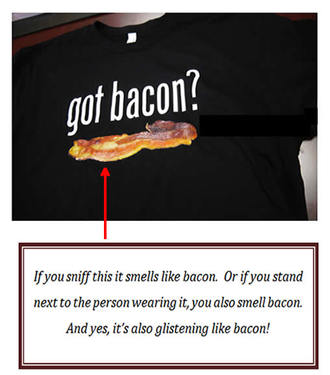 Got Bacon Scented T-shirt - Black Tee Shirt Bacon Scent (Adult Small)