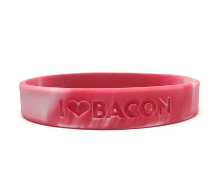 Bacon Love Wristband - I Heart Bacon - Silicone Wrist Band Rubber Bracelet