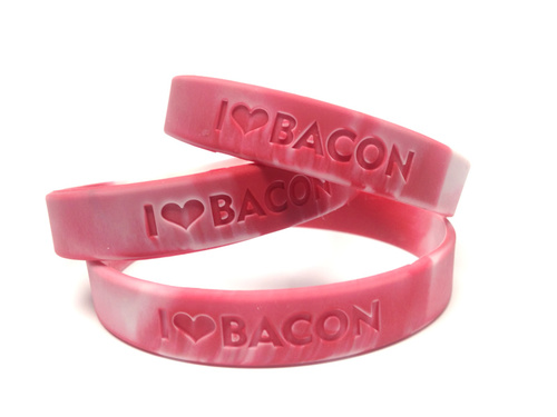 Bacon Love Wristband - I Heart Bacon - Silicone Wrist Band Rubber Bracelet (10 PACK)