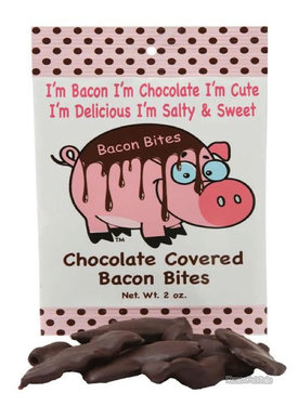 Chocolate Covered Bacon Bites - Crispy Bacon Pieces Dipped in Dark Chocolate (2 oz bag)