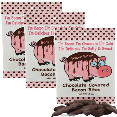 Chocolate Covered Bacon Bites - 3 Pack - Crispy Bacon Pieces Dipped in Dark Chocolate