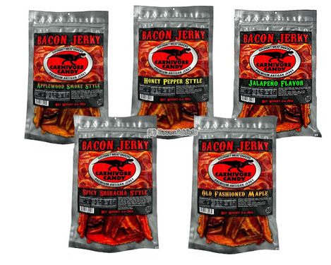 Carnivore Candy Bacon Jerky 5 Flavor Sampler Pack - Try All Five Flavors (5 x 2 oz Bags)