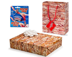 Bacon Gift Wrapping Kit (3 pc Set) - Gift Wrap Paper, Tape & Gift Bag with Card