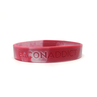 Bacon Wristband - Bacon Addict - Silicone Wrist Band Rubber Bracelet