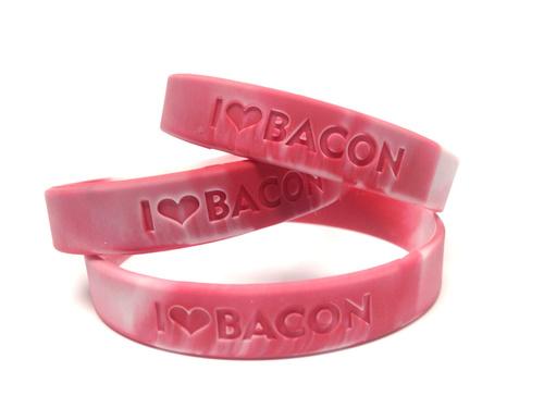 BULK Bacon Love Wristband - I Heart Bacon - Silicone Wrist Band Rubber Bracelet (100ct)