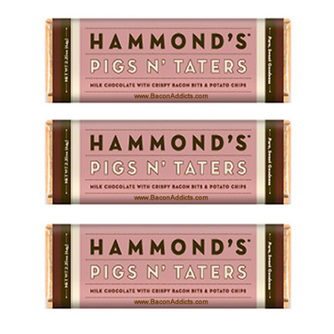 Hammond's Pigs N' Taters Milk Chocolate Bar w/ Bacon Bits & Potato Chips (3 Pack)
